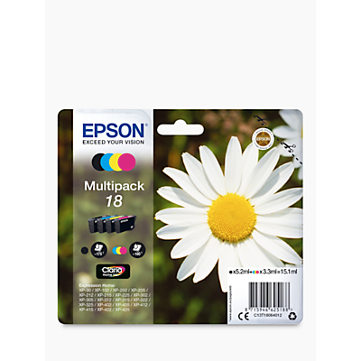 Image of Epson Daisy T1806 Inkjet Printer Cartridge Multipack, Pack of 4