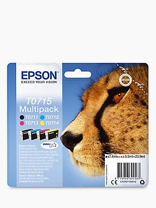 Epson Cheetah T0715 Inkjet Printer Cartridge Multipack, Pack of 4