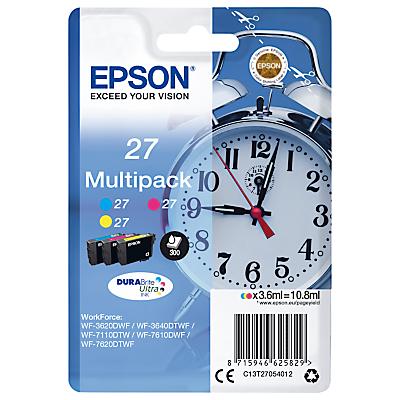 Epson Alarm Clock T2705 Colour Inkjet Printer Cartridge Multipack, Pack of 3