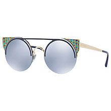 Buy Bvlgari BV6088 Embellished Round Sunglasses, Navy/Mirror Blue Online at johnlewis.com