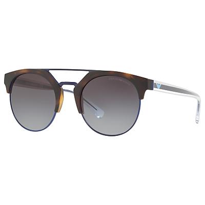 Emporio Armani EA4092 Round Sunglasses, Tortoise/Grey Gradient