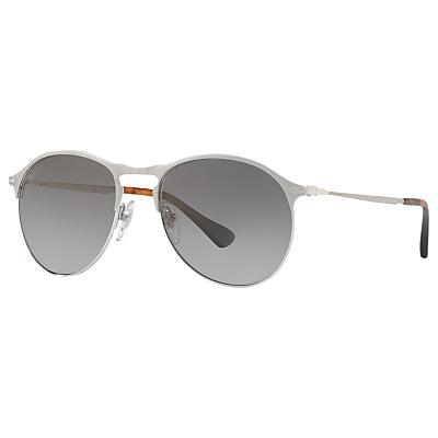 Persol PO7649S Polarised Aviator Sunglasses, Silver/Grey Gradient