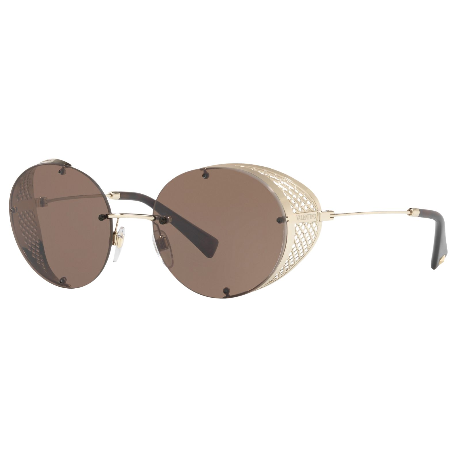 Valentino Valentino VA2003 Cut Out Detail Round Sunglasses, Gold/Brown