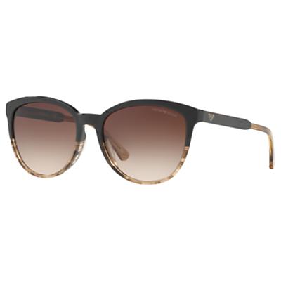 Emporio Armani EA4101 Cat's Eye Sunglasses, Black Pattern/Brown Gradient