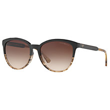 Buy Emporio Armani EA4101 Cat's Eye Sunglasses, Black Pattern/Brown Gradient Online at johnlewis.com