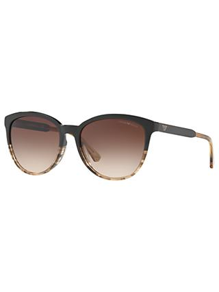 Emporio Armani EA4101 Cat's Eye Sunglasses, Black Pattern/Brown Gradient