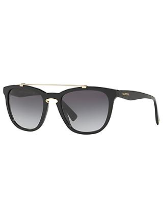 Valentino VA4002 Square Sunglasses, Matte Black/Grey Gradient