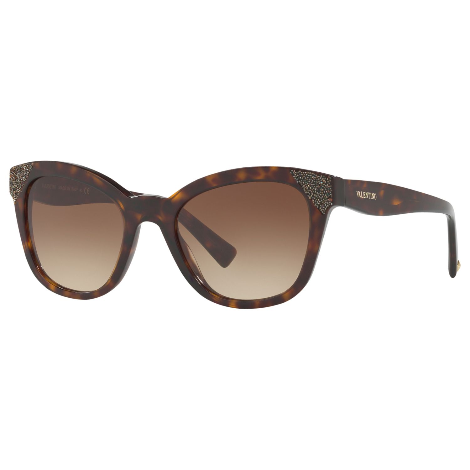Valentino Valentino VA4005 Embellished Cat's Eye Sunglasses, Tortoise/Brown Gradient