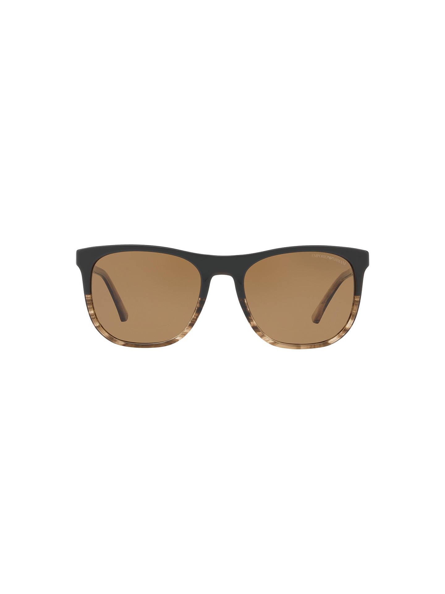 BuyEmporio Armani EA4099 Polarised Square Sunglasses, Matte Black  Pattern Brown Online at johnlewis. 3b5d18b783