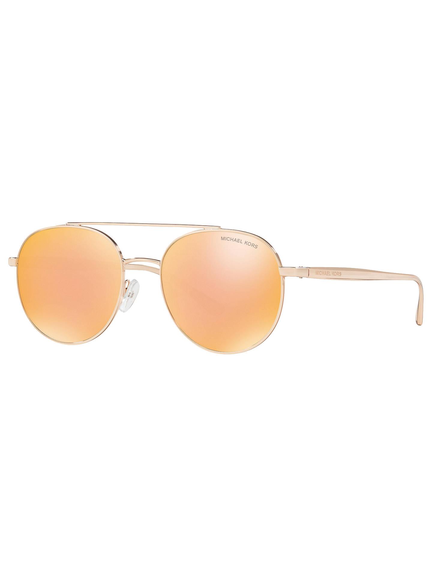 0835a13d5 Buy Michael Kors MK1021 Lon Round Aviator Sunglasses, Gold/Mirror Orange  Online at johnlewis ...