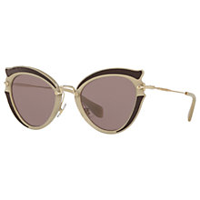 Buy Miu Miu MU 05SS Cat's Eye Sunglasses, Gold Black/Brown Online at johnlewis.com