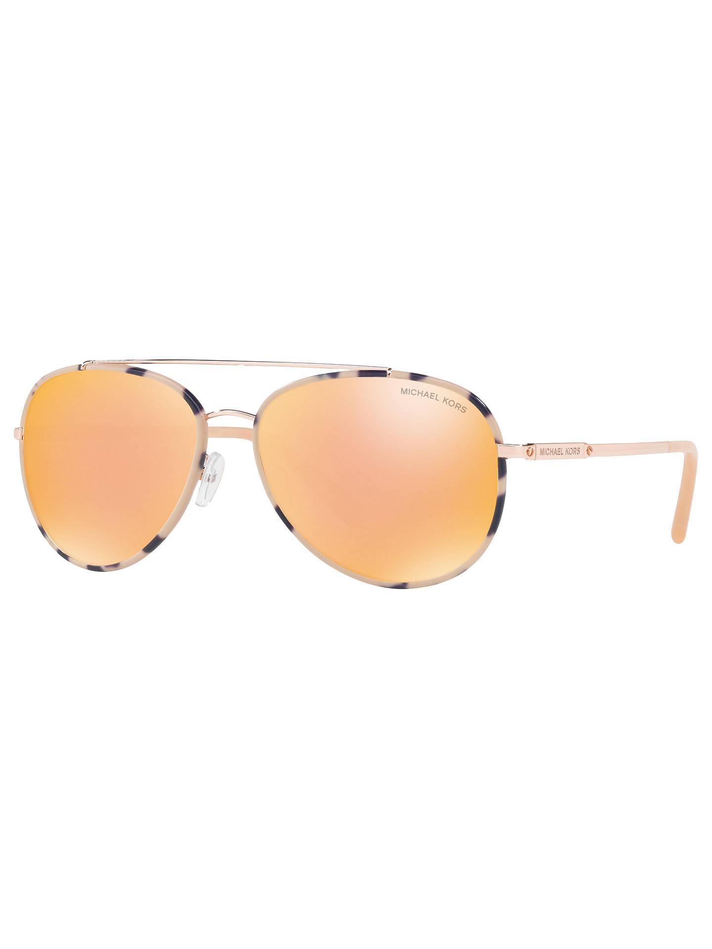 5ab8b0b02bce Buy Michael Kors MK1019 Ida Aviator Sunglasses, Rose Gold/Mirror Orange  Online at johnlewis