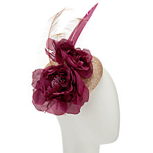 Buy John Lewis Lorna Sequin Sparkle Pillbox Fascinator, Gold/Claret Online at johnlewis.com