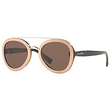 Buy Valentino VA4014 Aviator Sunglasses, Tortoise Nude/Brown Online at johnlewis.com