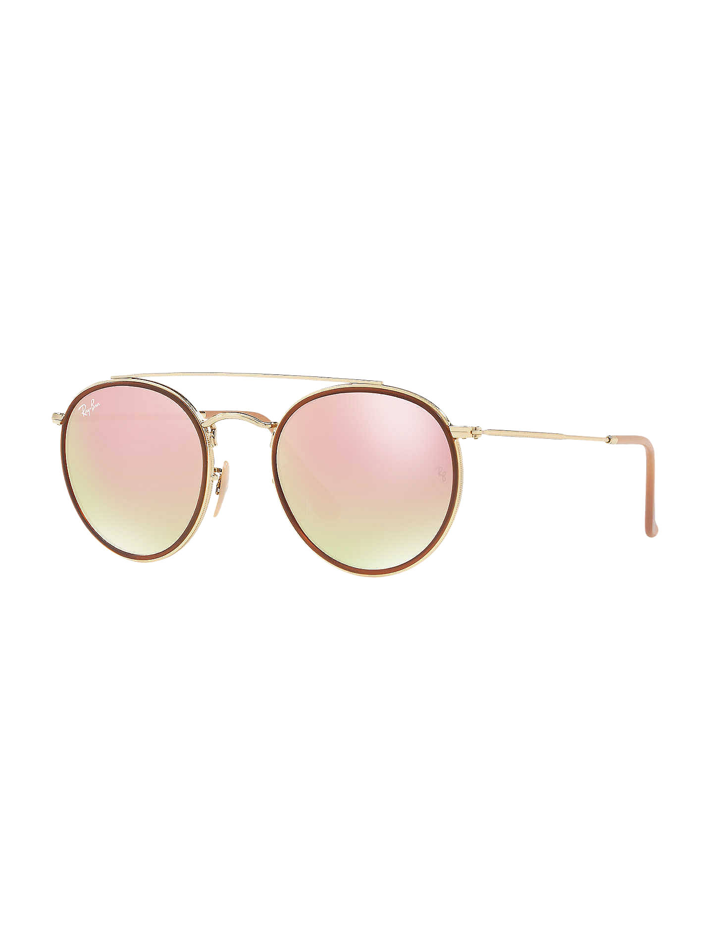 BuyRay-Ban RB3647N Unisex Double Bridge Oval Sunglasses, Gold Mirror Pink  Online at ... fbaee2b18f