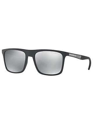 Emporio Armani EA4097 Polarised Square Sunglasses, Matte Black/Mirror Silver