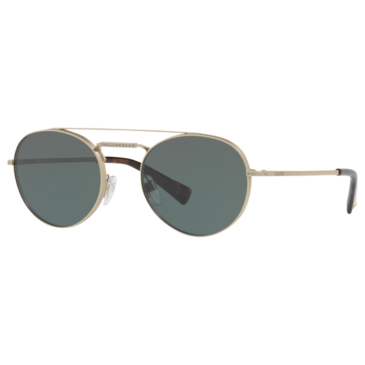 Valentino Valentino VA2004B Double Bridge Oval Sunglasses, Gold/Dark Green