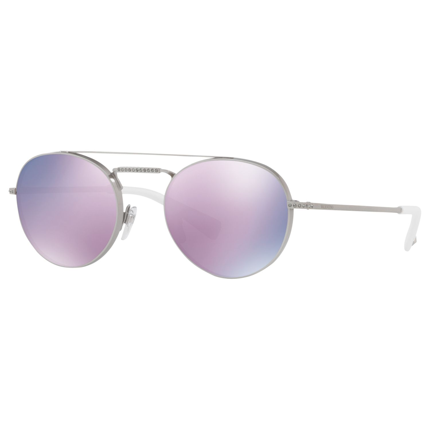 Valentino Valentino VA2004B Double Bridge Oval Sunglasses, Silver/Mirror Lilac
