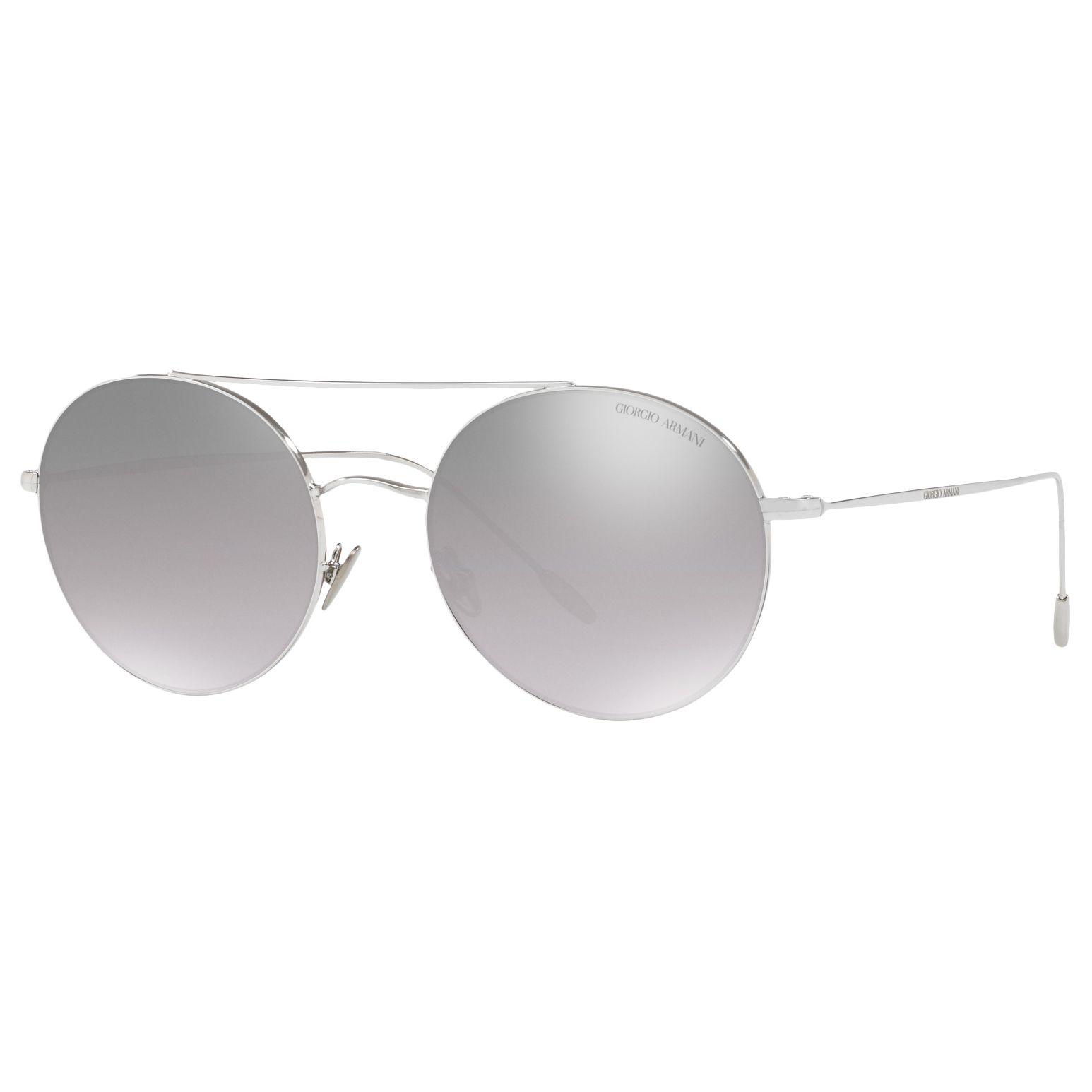 Giorgio Armani Giorgio Armani AR6050 Round Sunglasses, Silver/Mirror Grey