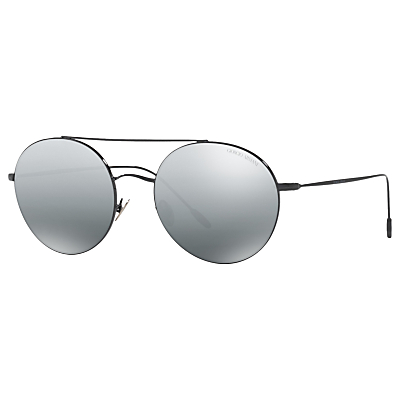Giorgio Armani AR6050 Round Sunglasses, Black/Mirror Grey
