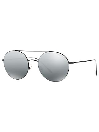 Giorgio Armani AR6050 Round Sunglasses, Black/Mirror Grey
