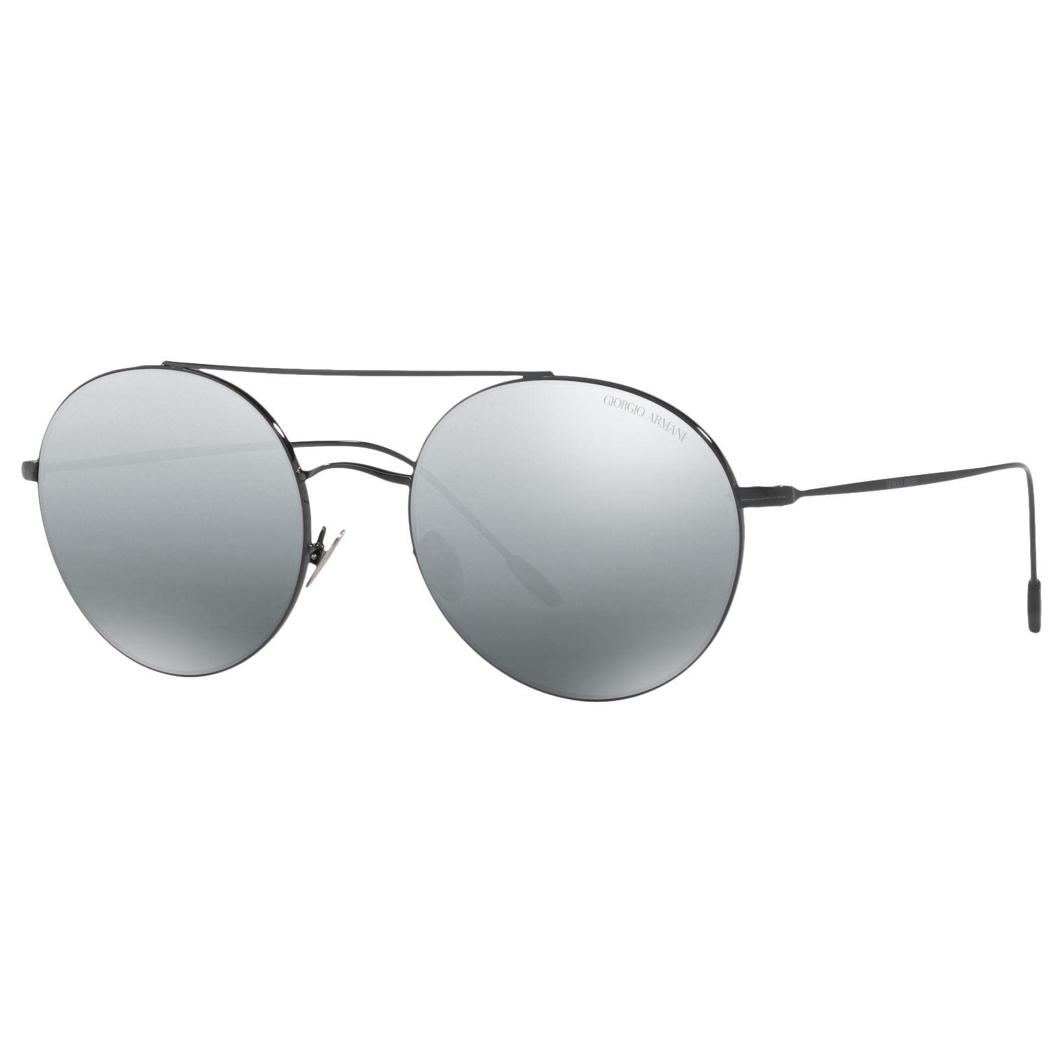 Giorgio Armani Giorgio Armani AR6050 Round Sunglasses, Black/Mirror Grey