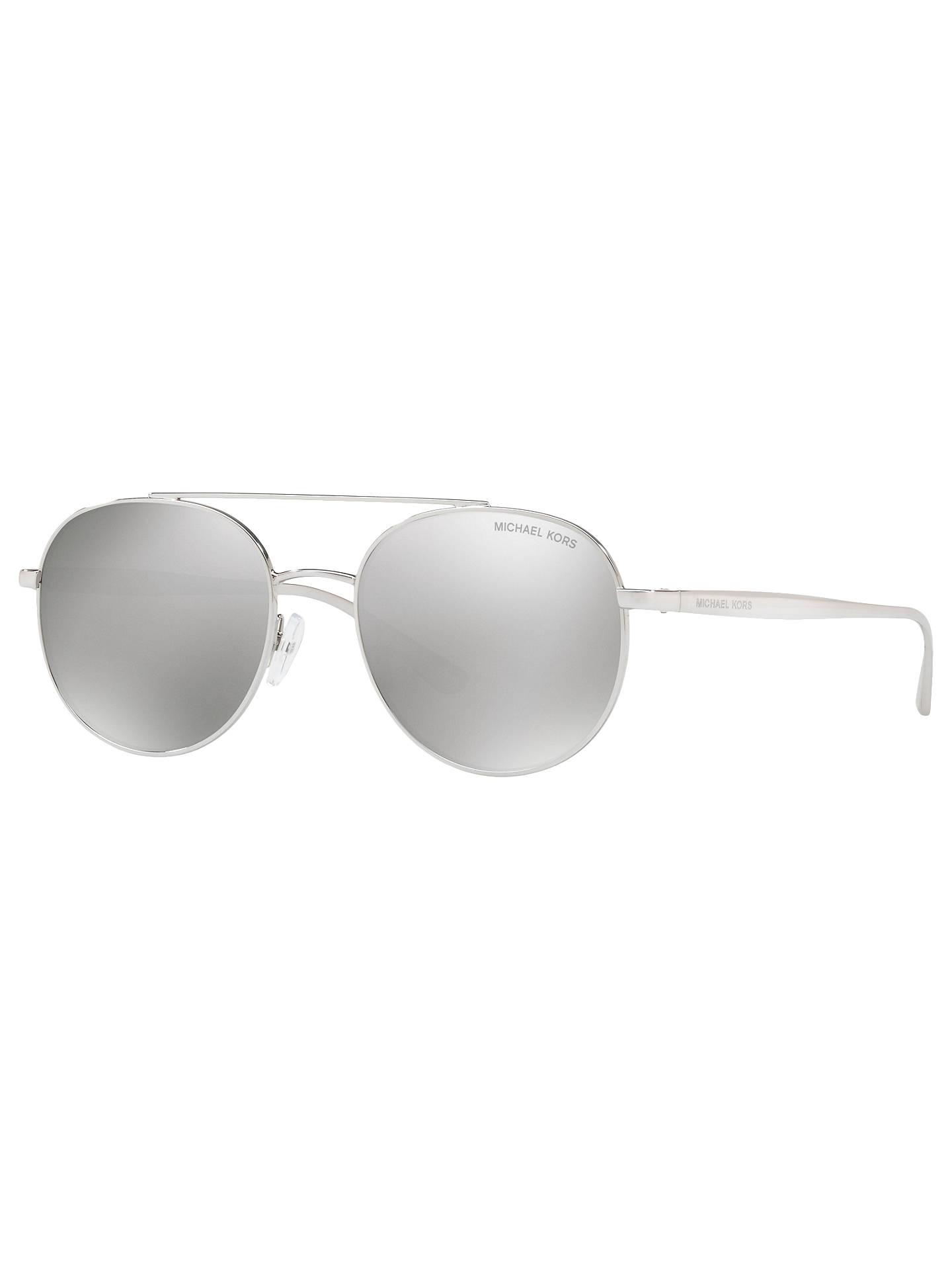 e5beb2cfd0eb Buy Michael Kors MK1021 Lon Round Aviator Sunglasses, Silver/Mirror Grey  Online at johnlewis ...