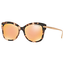 Buy Michael Kors MK2047 Lia Square Sunglasses, Pink Tortoise/Mirror Rose Gold Online at johnlewis.com