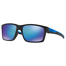 Buy Oakley OO9264 Mainlink Prizm Polarised Rectangular Sunglasses, Matte Black/Sapphire Online at johnlewis.com