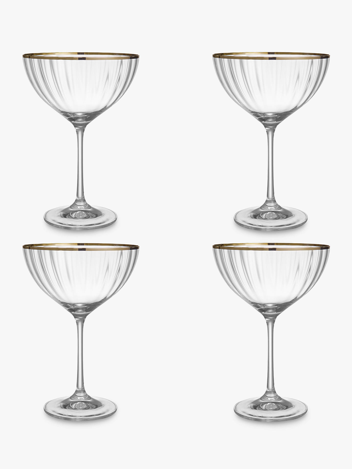 Buy Croft Collection Oakham Platinum Band Champagne Saucer, Set of 4 Online at johnlewis.com