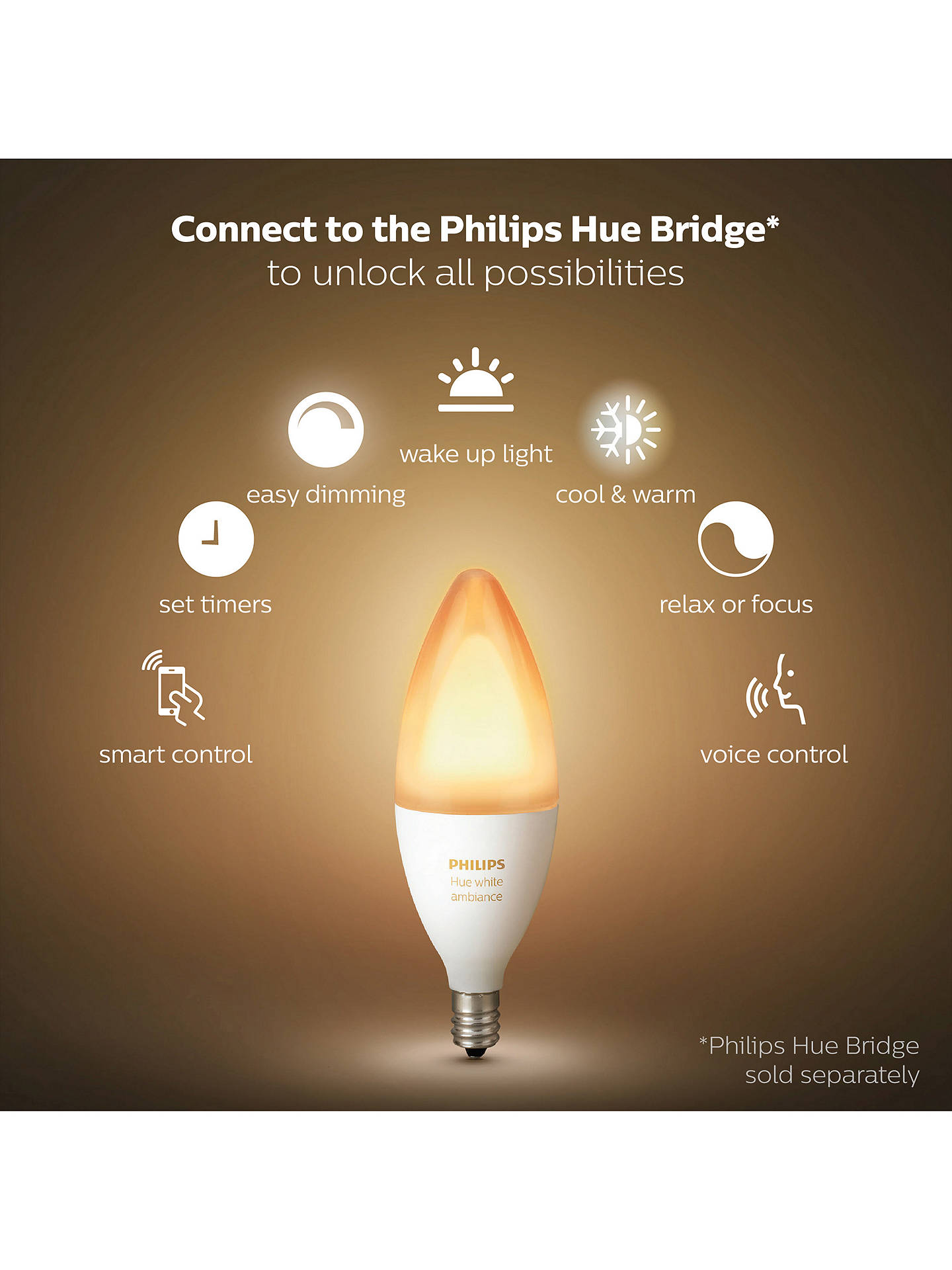 BuyPhilips Hue White Ambiance Wireless Lighting LED Light Bulb, 6W B39 E14 Small Edison Screw Bulb, Single Online at johnlewis.com