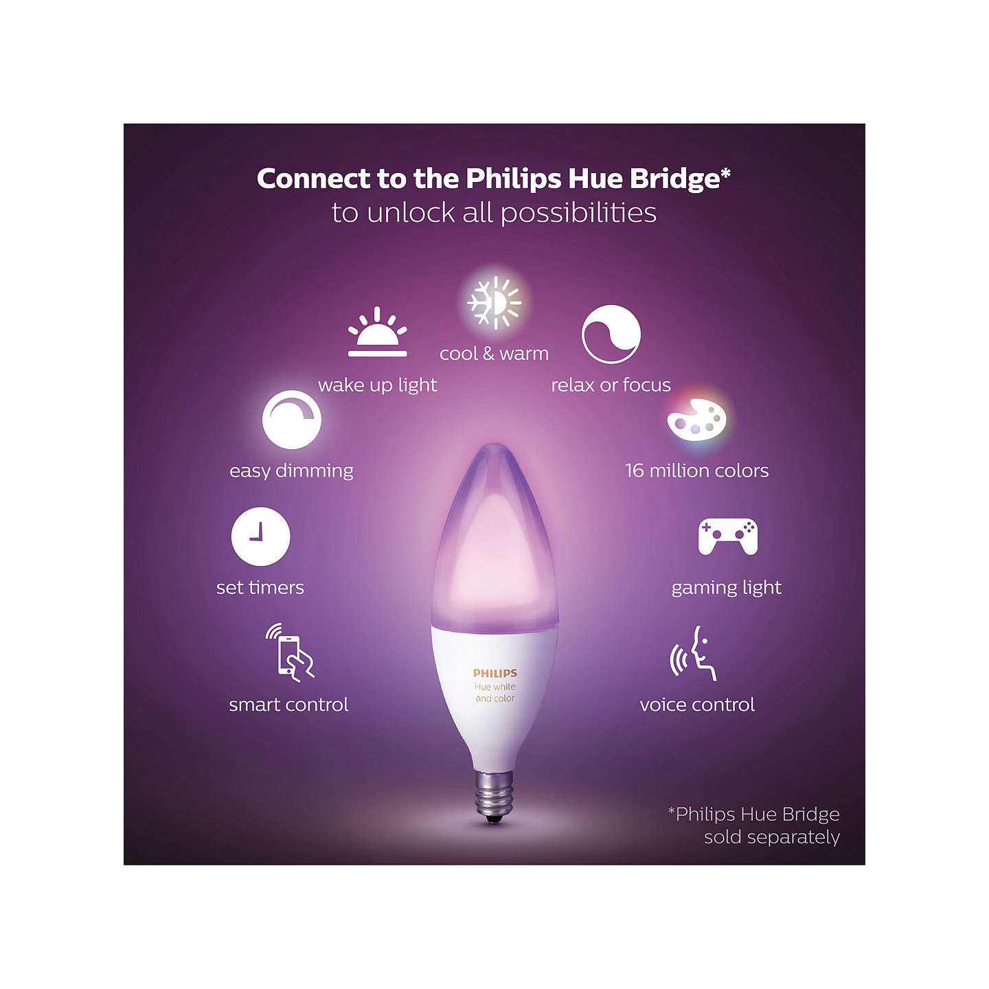 BuyPhilips Hue White and Colour Ambiance Wireless Lighting LED Colour Changing Light Bulb, 6.5W B39 E14 Small Edison Screw Bulb, Pack of 2 Online at johnlewis.com
