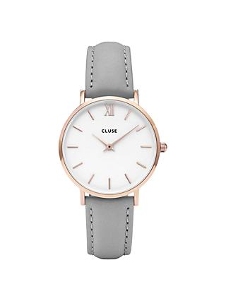 CLUSE Women's Minuit Rose Gold Leather Strap Watch