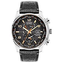 Buy Citizen AT9011-09E Men's Chronograph World Time Date Leather Strap Watch, Black Online at johnlewis.com