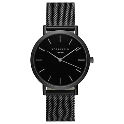 ROSEFIELD Women's The Mercer Mesh Bracelet Strap Watch, Black