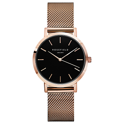ROSEFIELD TBR-T59 Women's The Tribeca Mesh Bracelet Strap Watch, Rose Gold/Black