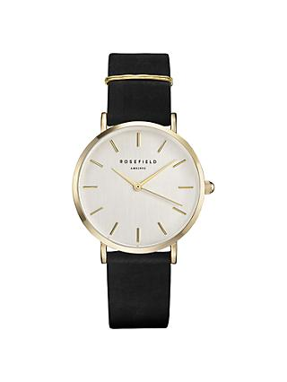 ROSEFIELD WBLG-W71 Women's The West Village Leather Strap Watch, Black/White