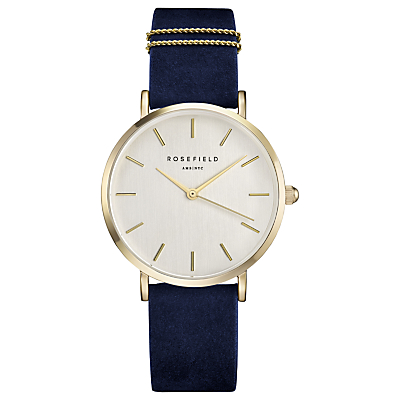 ROSEFIELD WBUG-W70 Women's The West Village Leather Strap Watch, Navy/White