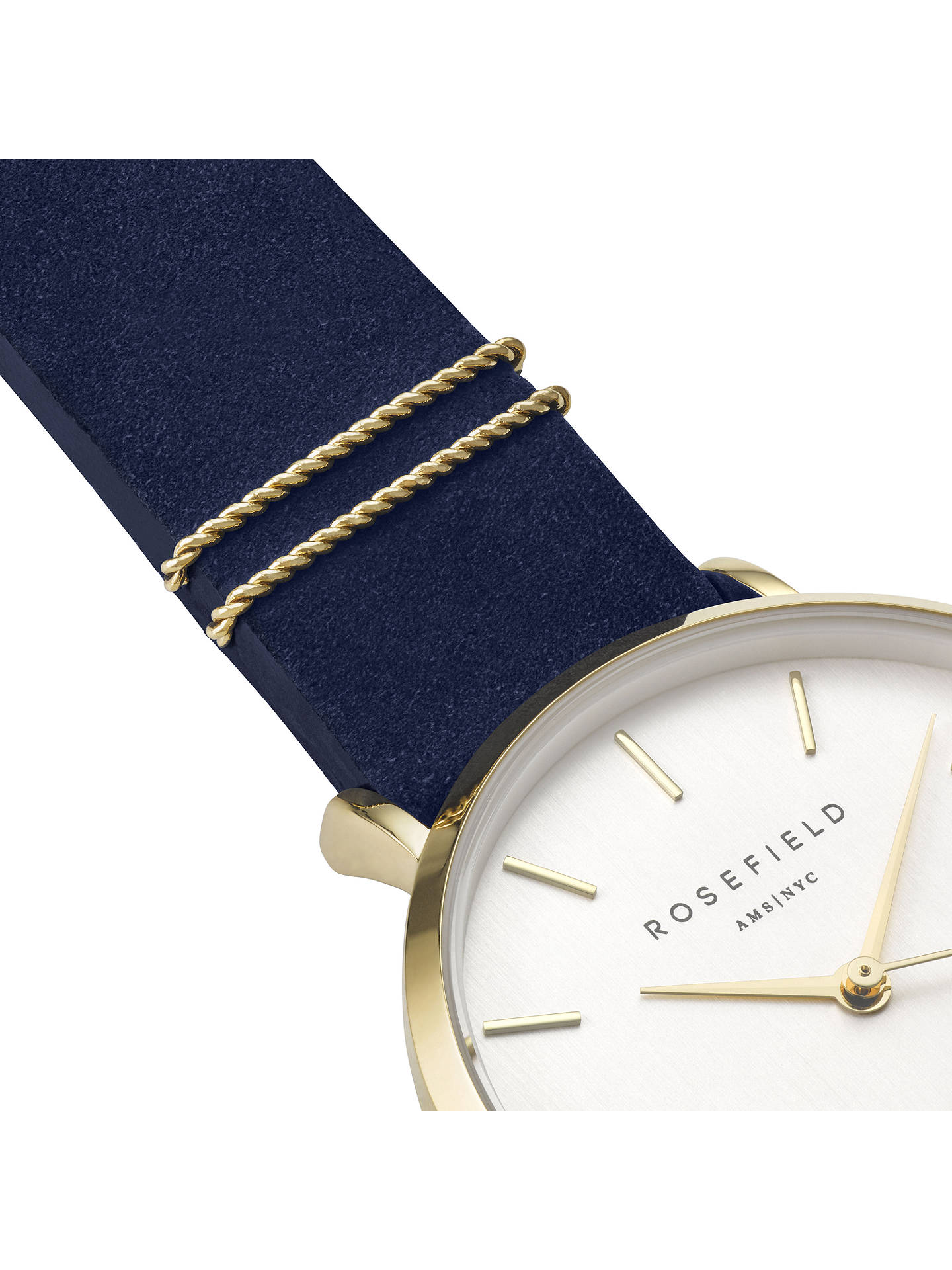BuyROSEFIELD WBUG-W70 Women's The West Village Leather Strap Watch, Navy/White Online at johnlewis.com