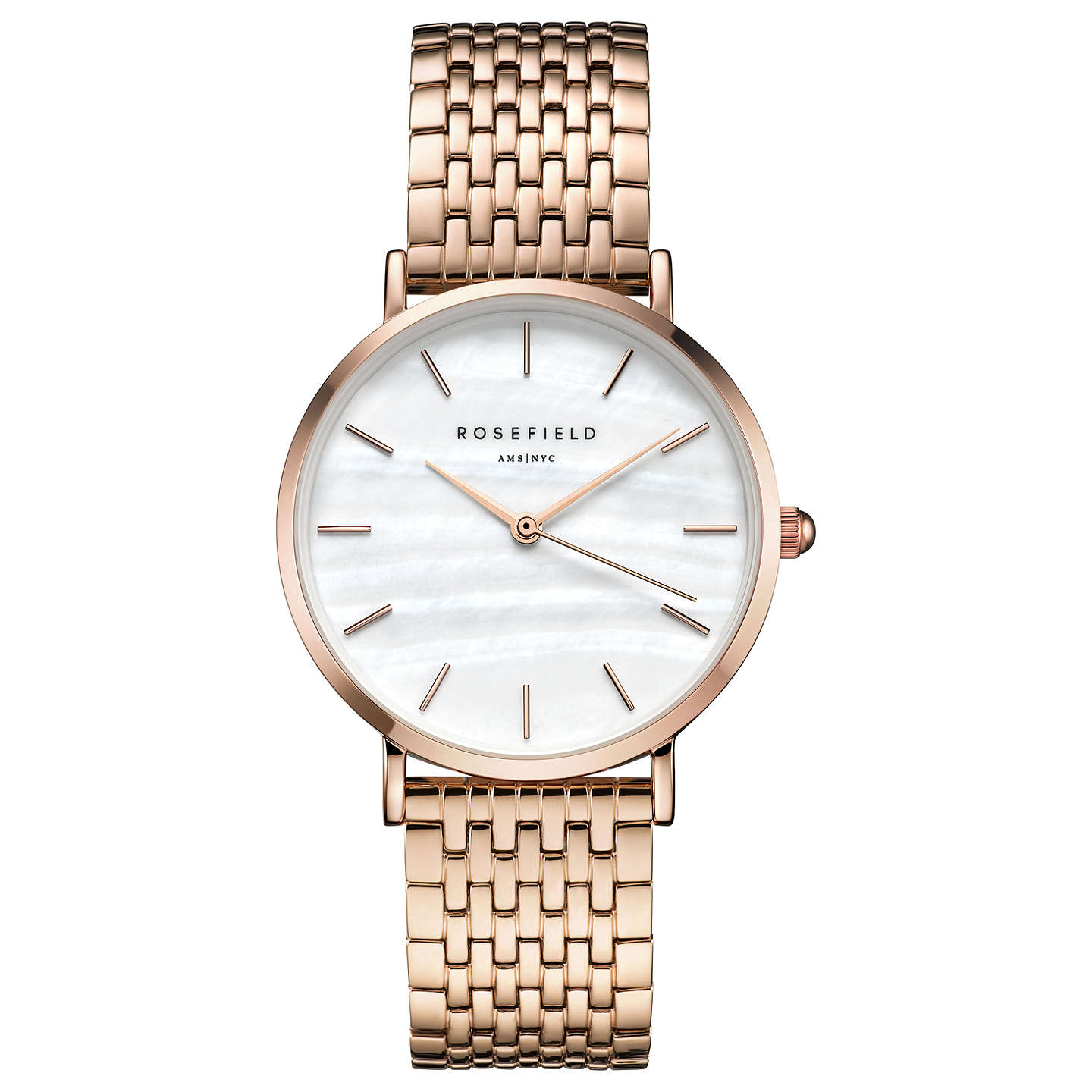 Rosefield Women's The Upper East Bracelet Strap Watch, Rose Gold/White by Rosefield