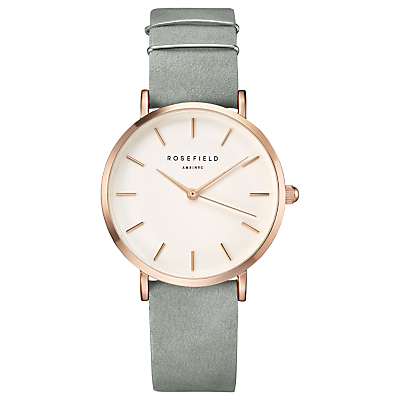 ROSEFIELD WMGR-W74 Women's The West Village Leather Strap Watch, Mint Grey/White