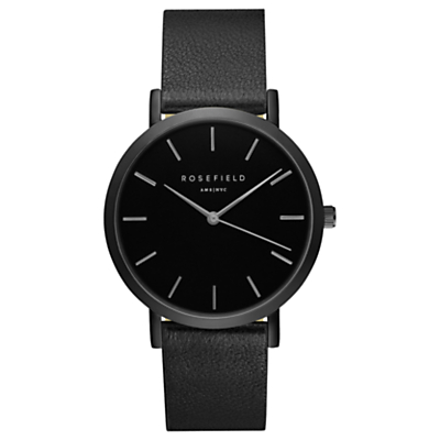 ROSEFIELD GBBB-G38 Women's The Gramercy Leather Strap Watch, Black