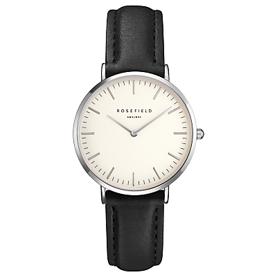 ROSEFIELD TWBLS-T54 Women's The Tribeca Leather Strap Watch, Black/White