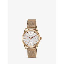 Buy Citizen Women's LTR Date Mesh Bracelet Strap Watch Online at johnlewis.com