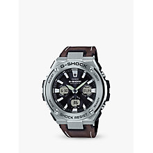 Buy Casio GST-W130L-1AER Men's G-Shock Chronograph Leather Strap Watch, Dark Brown/Black Online at johnlewis.com