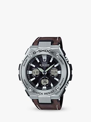 Casio GST-W130L-1AER Men's G-Shock Chronograph Leather Strap Watch, Dark Brown/Black