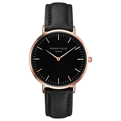 ROSEFIELD BBBR-B11 Women's The Bowery Leather Strap Watch, Black