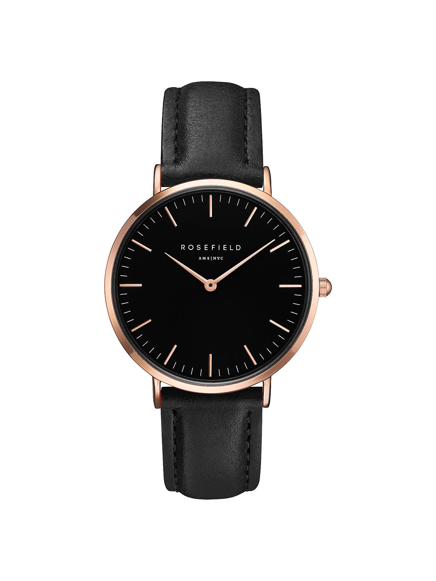 BuyROSEFIELD BBBR-B11 Women's The Bowery Leather Strap Watch, Black Online at johnlewis.com