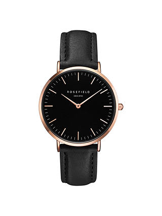 Buy ROSEFIELD BBBR-B11 Women's The Bowery Leather Strap Watch, Black Online at johnlewis.com