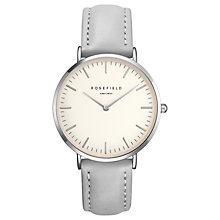 Buy ROSEFIELD BWGS-B10 Women's The Bowery Leather Strap Watch, Grey/Silver Online at johnlewis.com